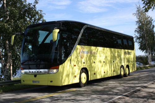 bus yellow tour