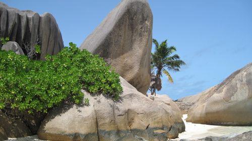seychelles beach granite rock