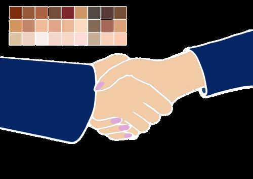 shaking hands man woman