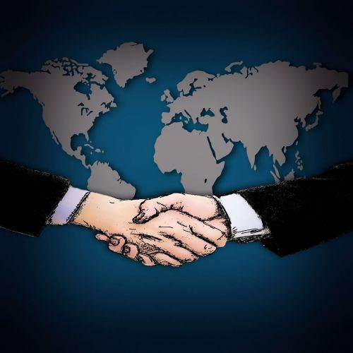 shaking hands map of the world contract