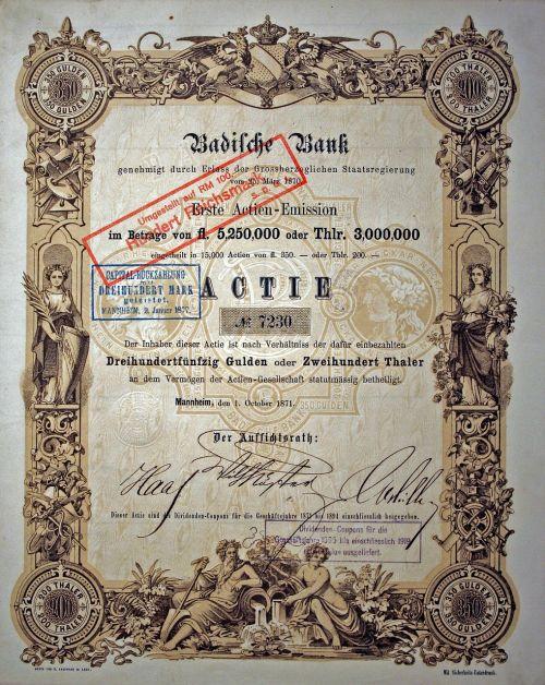 share historically badische bank