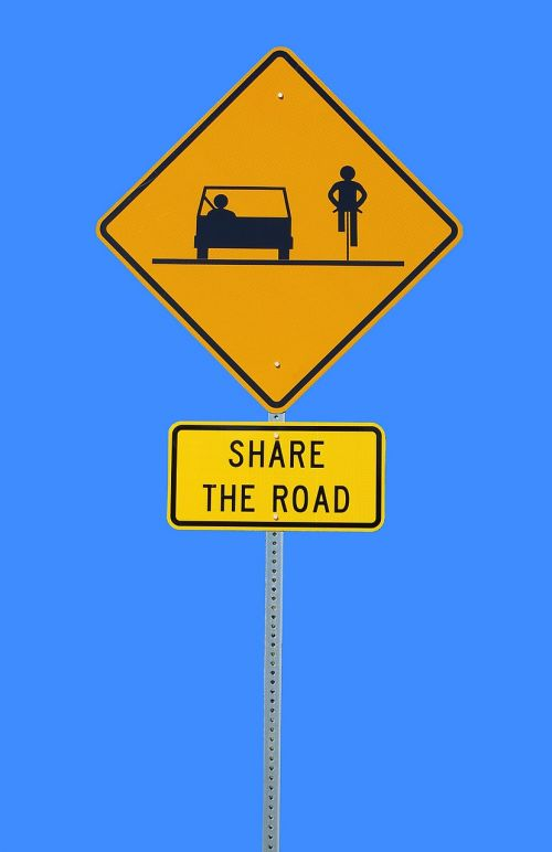 share the road sign bike