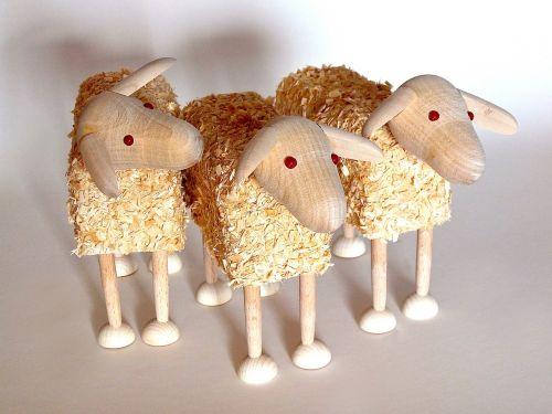 sheep wooden sheep wood wool