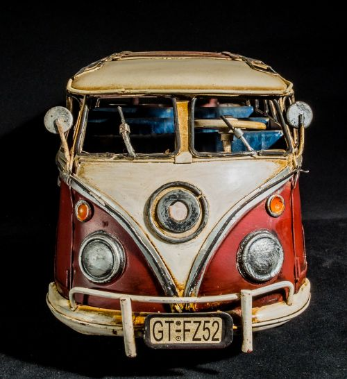 sheet metal car model car vw bus