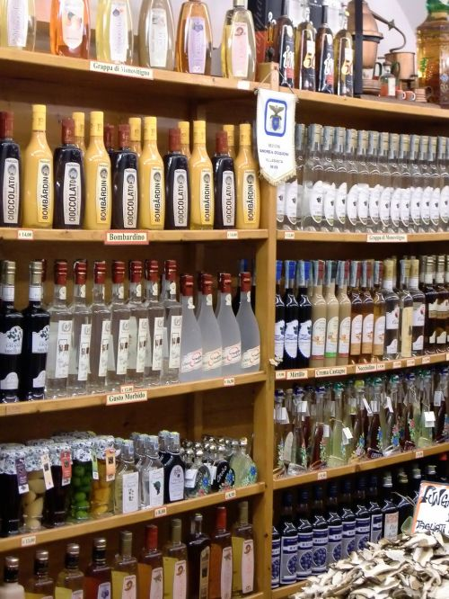 shelf bottles wine