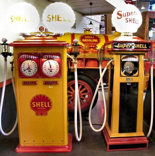 shell gasoline pumps antique restored