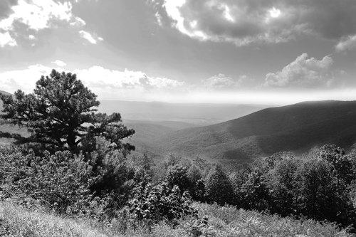 shenandoah valley  mountains  black and white landscape