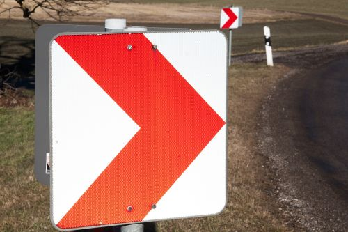 shield road signs curve