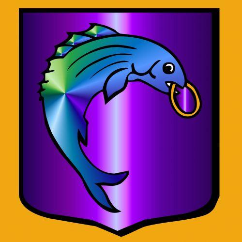 skydas, žuvis, gradientas, spalva, vanduo, simbolis, skydas su žuvimi