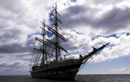 ship tall ship stormy sky