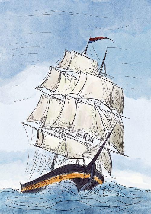 ship sailing boat frigate