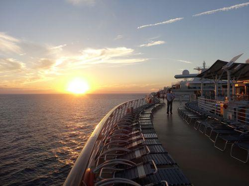ship deck sunset
