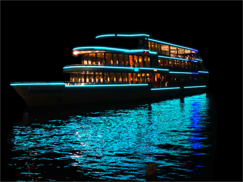 ship illuminated night ship