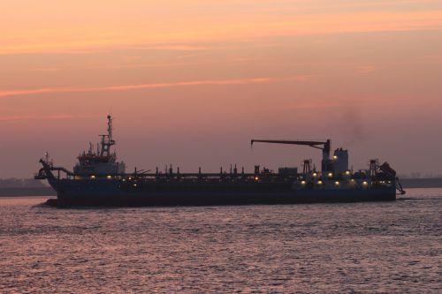 ship sunset weser