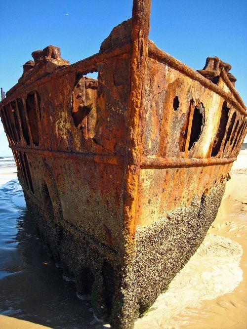 laivo nuolaužos,Fraser sala,australia,rytu pakrante,žemyn,nuolaužos