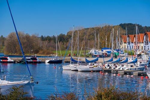 ships  sailing ships  lake
