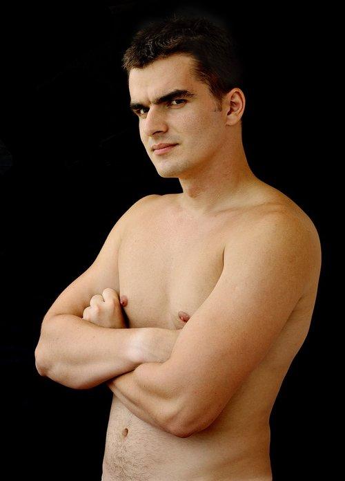 shirtless  young  man