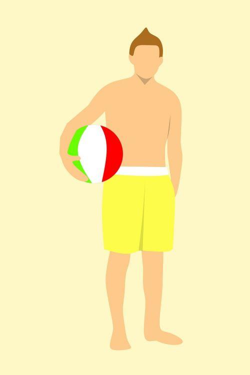 shirtless young man holding a beach ball man