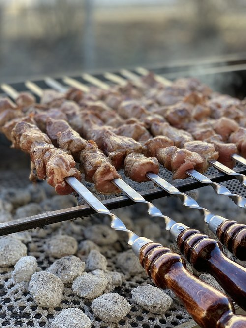 shish kebab  homemade  eat