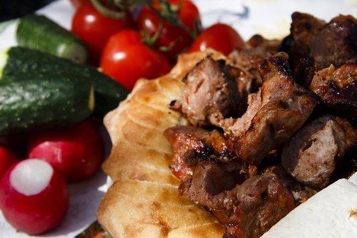 shish kebab  grill  vegetables