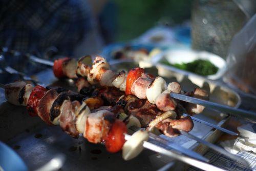shish kebab fried meat skewers