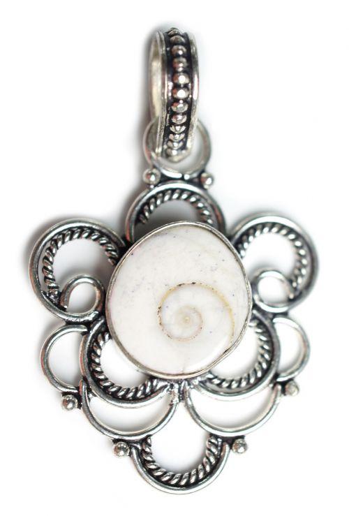 shiva shell stone pendant