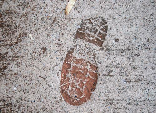 Shoe Imprint On Pavement