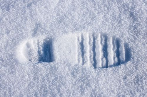 shoe print snow reprint