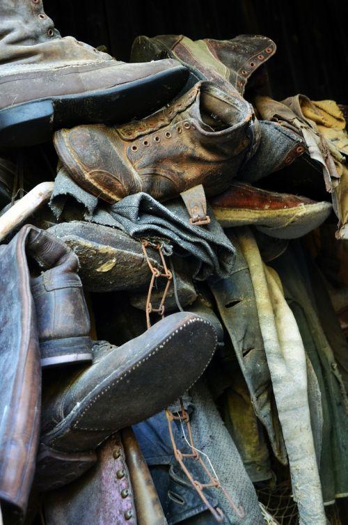 shoes old debris