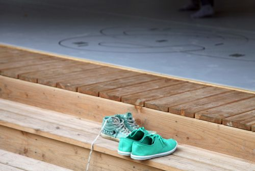 shoes green stairs