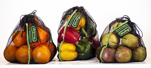 shopping bags  sustainable  fruits and vegetables