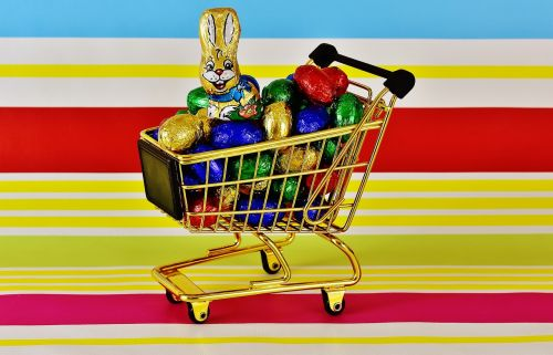 shopping cart chocolate eggs easter