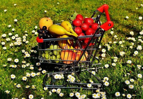 shopping cart healthy shopping fruit