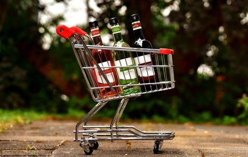 shopping cart wine bottles shopping
