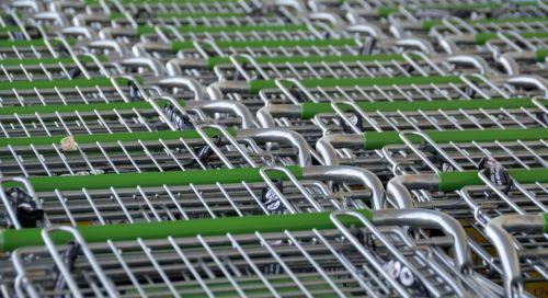 krepšeliai,laikyti,parduotuvė,pirkti,prekybos centras,turgus,mažmeninė,verslas,pirkti,pardavimas,klientas,komercija,apsipirkimas,krepšelis,stumti,metalas,bakalėja,tuščia,čekis,pirkimas,pirkti
