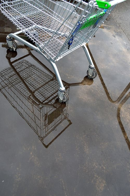 Shopping Trolley And Puddle