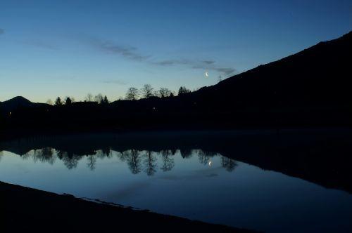 shortly before sunrise water reflection lake