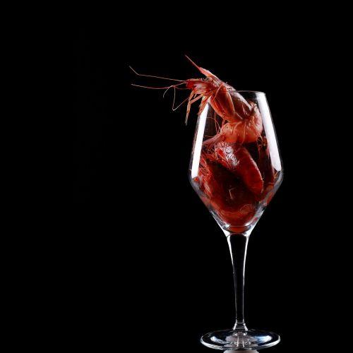 shrimp red glass