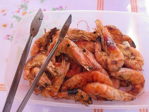 shrimps bbq food