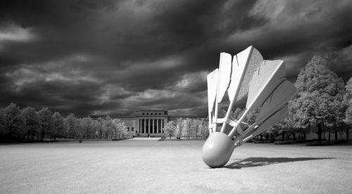 shuttlecock sculpture outdoors artwork
