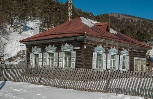 siberia lake baikal wooden house