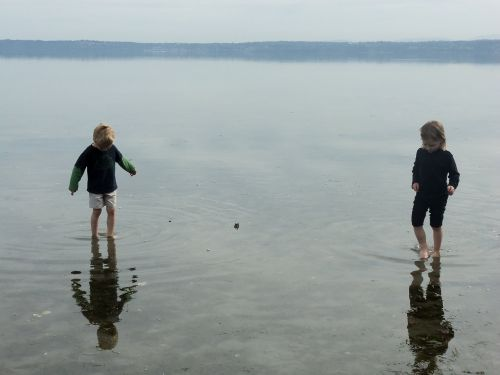 siblings reflections water-walking