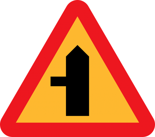 side road intersection roadsign