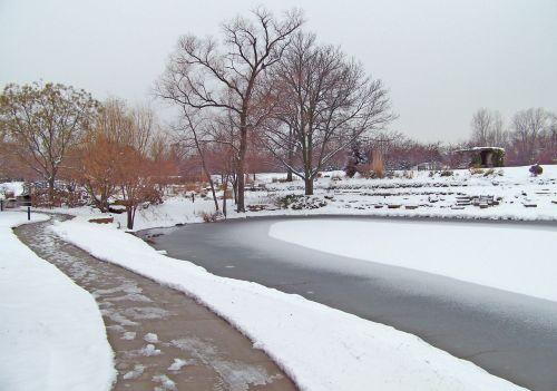 Sidewalk And Frozen Pond