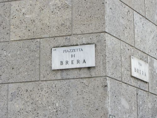 sign,street brera,milan,italy,place,panel,piazzetta