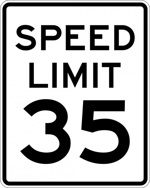 sign speed limit 35 miles