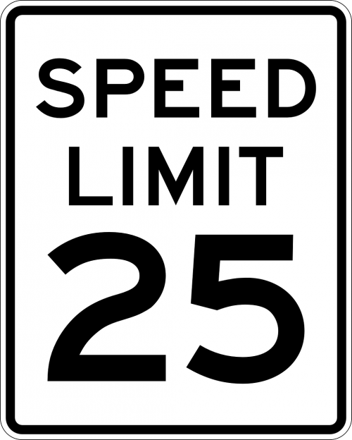 sign speed limit 25 miles