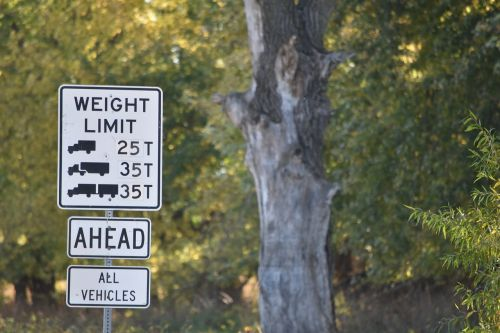 sign weight limit road