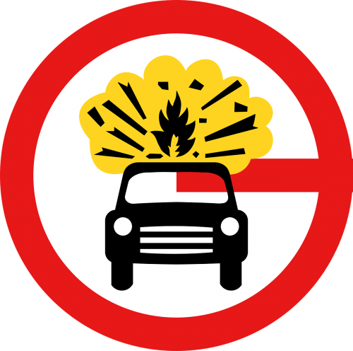 sign carrying explosives explosive