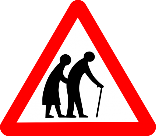 sign old people crossing